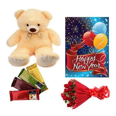Cadbury Temptations Bar, Roses Bouquet, Card & Teddy Bear