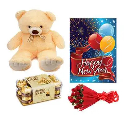 Ferrero Rocher , Roses Bouquet, Card & Teddy Bear