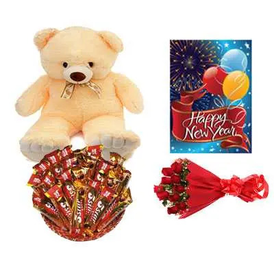 5 Star Chocolate Hamper, Roses Bouquet, Card & Teddy Bear