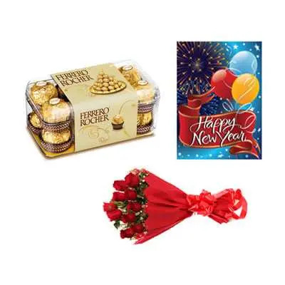 Ferrero Rocher with Card & Roses