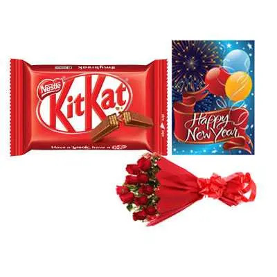 Kitkat with Card & Roses