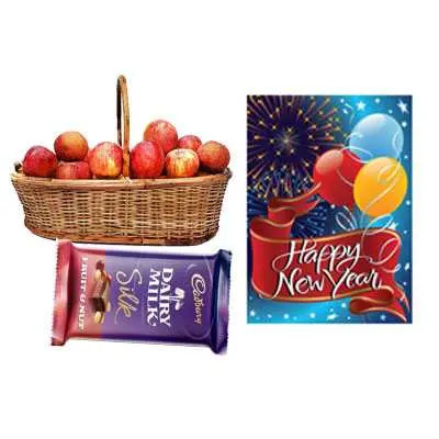 Apple Basket with New Year Card & Silk