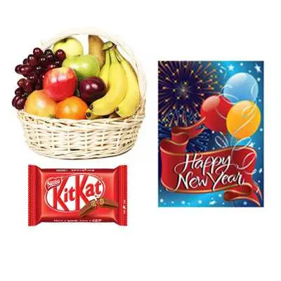 Fresh Fruits with New Year Card & Kitkat