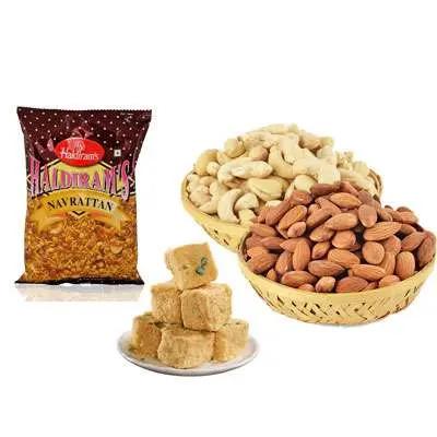 Almonds, Cashew, Soan Papdi & Namkeen