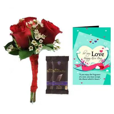 Bouquet, Bournville & Rose Day Greeting Card