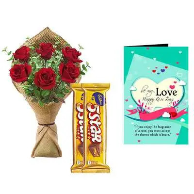 Rose Bouquet, 5 Star & Rose Day Greeting Card