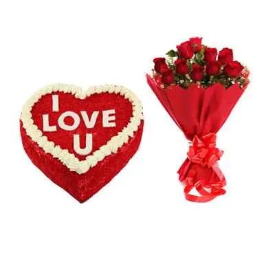 Love U Valentine Red Velvet Heart Shape Cake & Bouquet