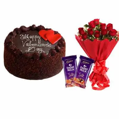 Valentine Day Chocolate Cake, Bouquet & Silk