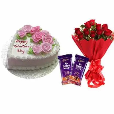 Valentines Flowery Vanilla Cake, Bouquet & Silk