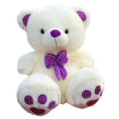 White Purple Teddy Bear