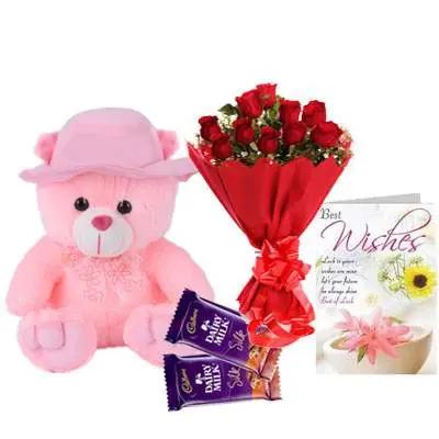 16 Inch Teddy with Bouquet, Silk Chocolate & Card