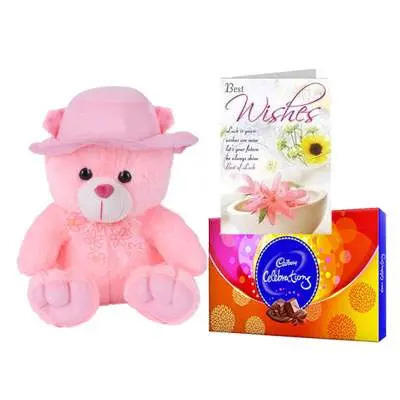 16 Inch Teddy with Celebration & Card