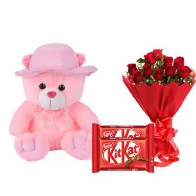 16 Inch Teddy with Kitkat & Bouquet