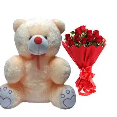 20 Inch Teddy Bear with Bouquet