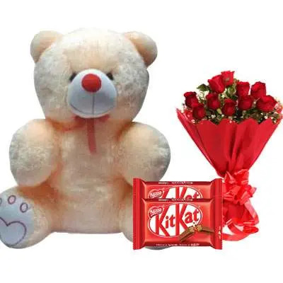 20 Inch Teddy with Kitkat & Bouquet