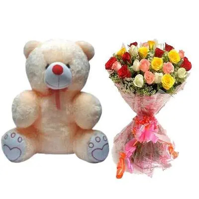 20 Inch Teddy with Mix Bouquet