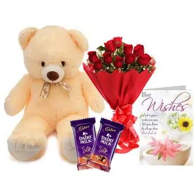 24 Inch Teddy with Bouquet, Silk & Card