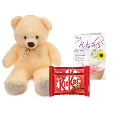 24 Inch Teddy with Kitkat & Card