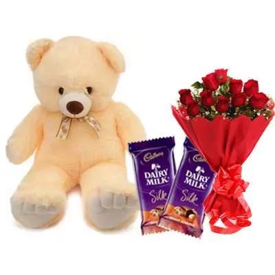 24 Inch Teddy with Silk & Bouquet
