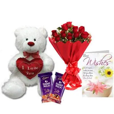 30 Inch Teddy with Bouquet, Silk & Card