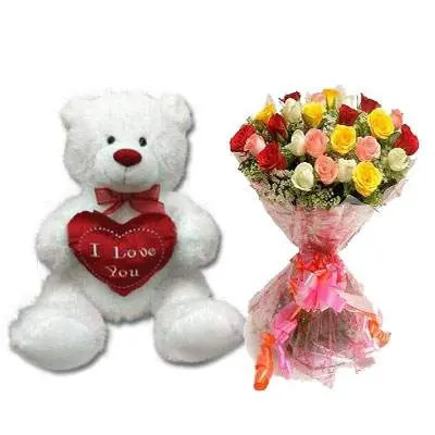 30 Inch Teddy with Mix Bouquet