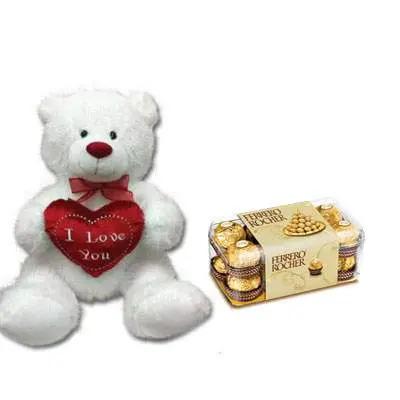 30 Inch Teddy with Ferrero Rocher