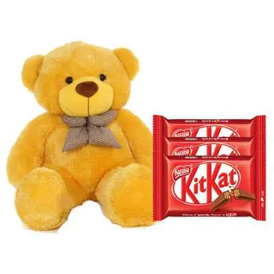 36 Inch Teddy with Kitkat