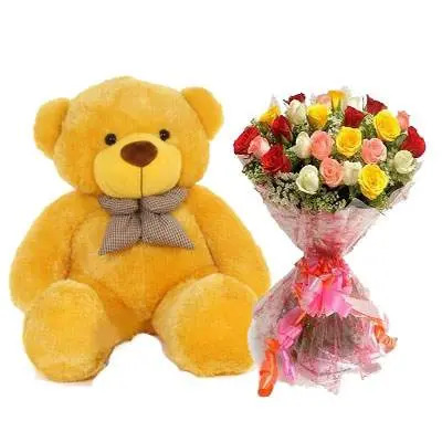 36 Inch Teddy with Mix Bouquet