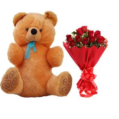40 Inch Teddy with Bouquet