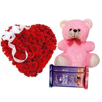 Red Rose Heart Arrangement with Teddy & Silk