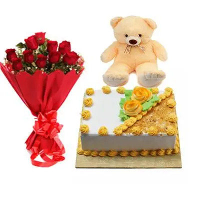 Roses, Teddy With Square Butter Scotch Cake