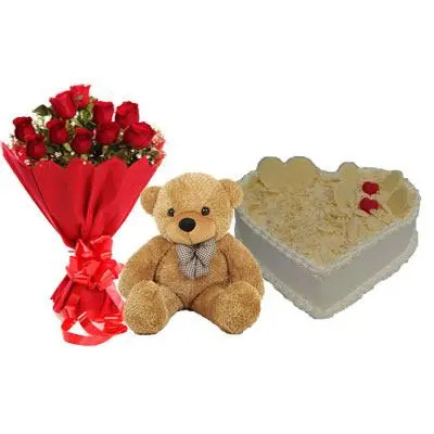 Roses, Teddy With Heart Shape White Forest Cake