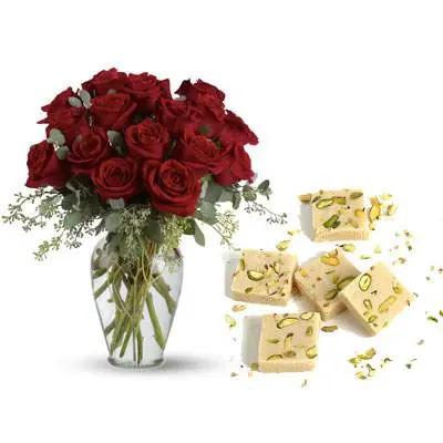 Red Roses With Mawa Burfi