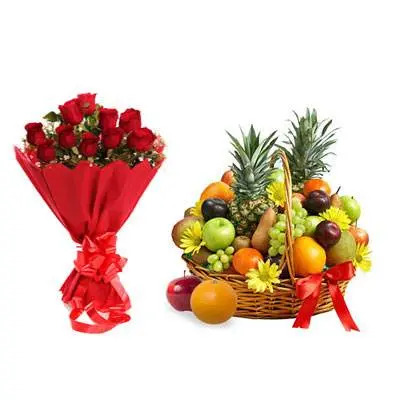 Fresh Fruits Basket With Red Roses