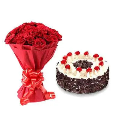 Red Roses With Black Forest Cake