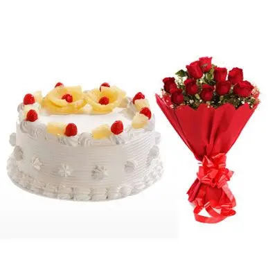 Eggless Pineapple Cake with 12 Red Roses