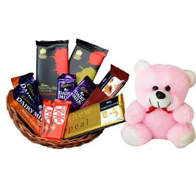 Basket of Indian Chocolates & Teddy