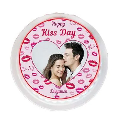 Kiss Day Pineapple Photo Cake