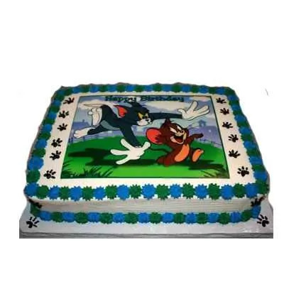 Tom & Jerry Photo Cake Square