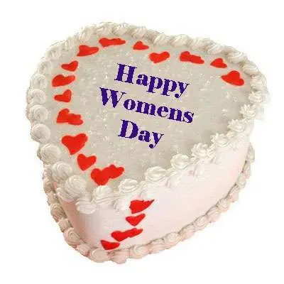 Womens Day Heart Shape White Forest Cake