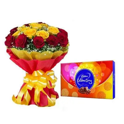 Red Yellow Bouquet with Celebration
