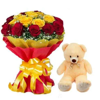 Red Yellow Bouquet with Teddy