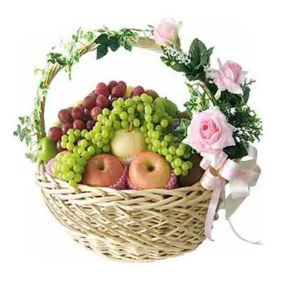 Decorated Fruit Basket with Pink Roses