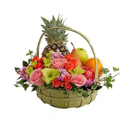 Decorated Fruit Basket with Mix Roses