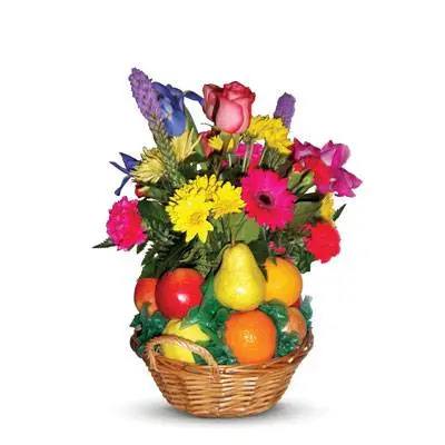 Decorated Fruit Basket with Mix Flowers