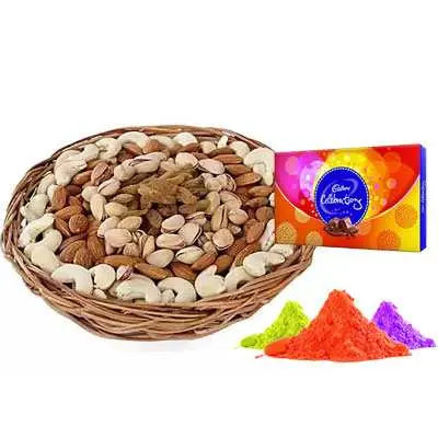 Mix Dry Fruits with Gulal & Celebration