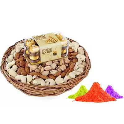 Mix Dry Fruits with Gulal & Ferrero