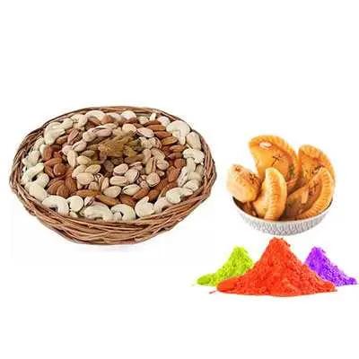 Mix Dry Fruits with Gulal & Gujiya