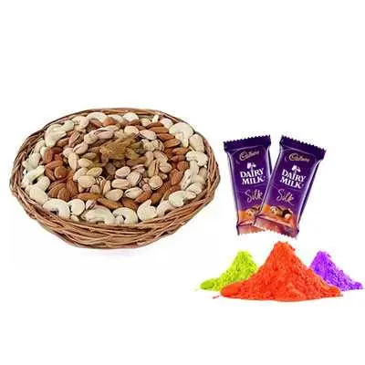 Mix Dry Fruits with Gulal & Silk