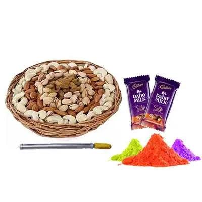Mix Dry Fruits, Pichkari, Gulal & Silk